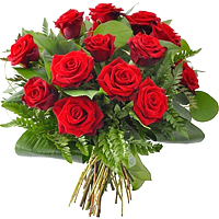 12 Red Roses in basket / Vase