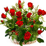 18 Red Roses in basket / Vase
