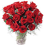 24 Red Roses in basket / Vase