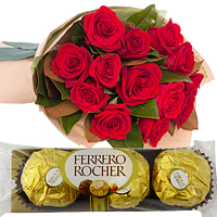 12 Red Roses Bouquet+3 Pcs. Ferrero Rocher
