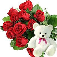 12 Red Roses Bouquet+8� Teddy bear