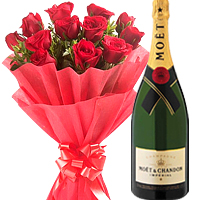 12 Red Roses with Champagne Hamper