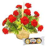 12 Gerberas Bouquet with Ferrero Rocher