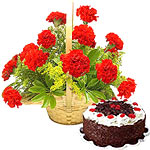 12 Gerberas Bouquet with cake