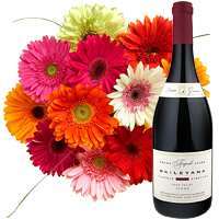 12 Gerberas Bouquet with A Bottle of Wine
