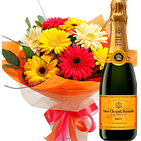 12 Gerberas Bouquet with Moet and Chandon Champagne