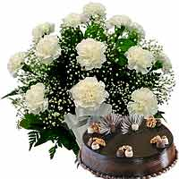 Carnations Bouquet with cake
