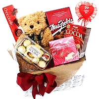 Classic Chocolate Love Hamper with a Teddy Bear