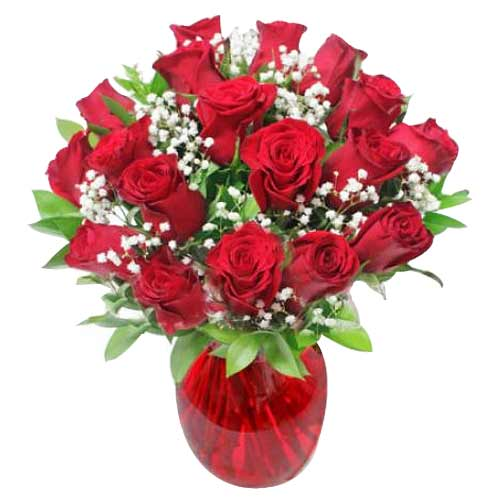 Exotic Lovers Promise 18 Rose Arrangements with Vase