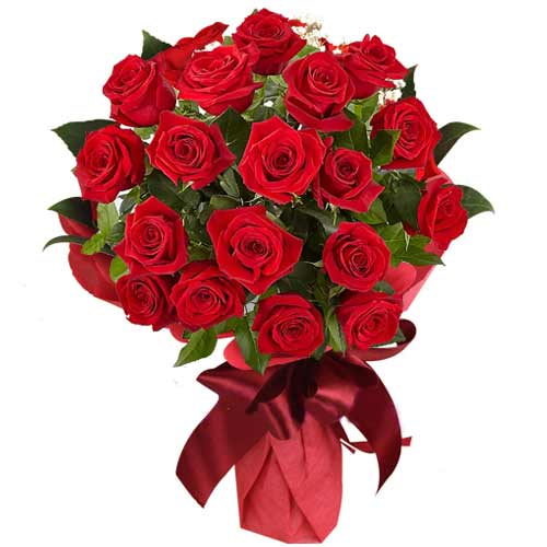 Beautiful Bouquet of 18 Red Roses and Free Heart Stick