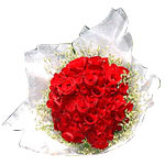 Blossoming Fifty Valentine's Red Roses Bouquet