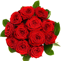 Breathtaking Valentine's Twelve Red Roses Arrangement and a Free Heart Stick