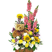 Breathtaking Pure Expressive Love Floral Arrangement with Teddy