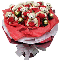 Charming Valentine Love Symbol Bear Bouquet and Ferrero