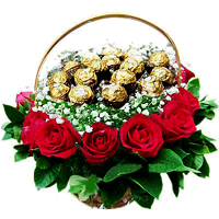 Tempting Heart of Love Ferrero Flower Basket