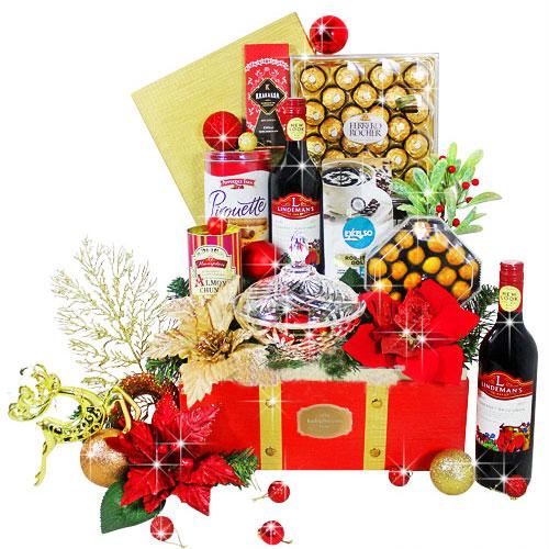 Festive Gift Hamper of Wine And Goodies