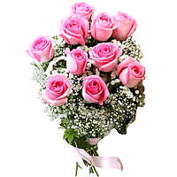 Exquisite Bouquet of 10 Romantic and Fabulously Adorable Pink Roses and Babys Breath Wrapped Sweetly in Pink and Red Ribbon