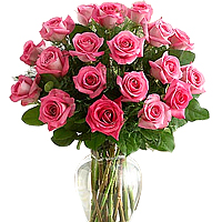 Enchanting Basket Made with 18 Long Stemmed Pink Roses with Greenery, A Rose Touch