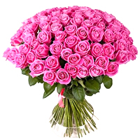 Bright 50 Long Stemmed Pink Roses Arranged in an Exclusive Bouquet.