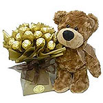 Amazing Arrangement of Bear and 30 Ferrero Rocher Chocolates