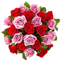 Elegant Pink and Red Roses Bouquet, Just Breathless