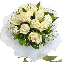 Bouquet of 10 white Roses with Baby Breath, A Harmony