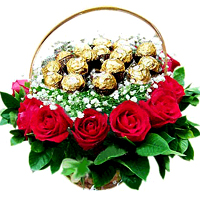 Fifteen Famous Ferrero Chocolates and 12 Long Stemmed Red Rose Arranged Exclusively in a Basket
