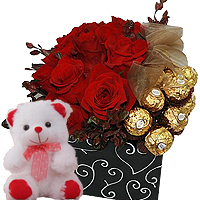 Magical Box Full of Perfect Romance -Teddy Bear, Roses and Ferrero Rocher Chocolates