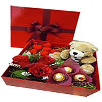 Impressive Artificial Flowers,Gifts and a Teddy, Saying I Love U