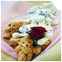 Remarkable Mixed Bouquet of Cute Little Teddies