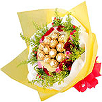 Sweet Rossy Choco Bouquet of Yummy Chocolates with Flowers, A Sweet Surprise