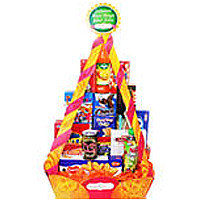Adorable Tower Box loaded with Cracker and Seas Foods